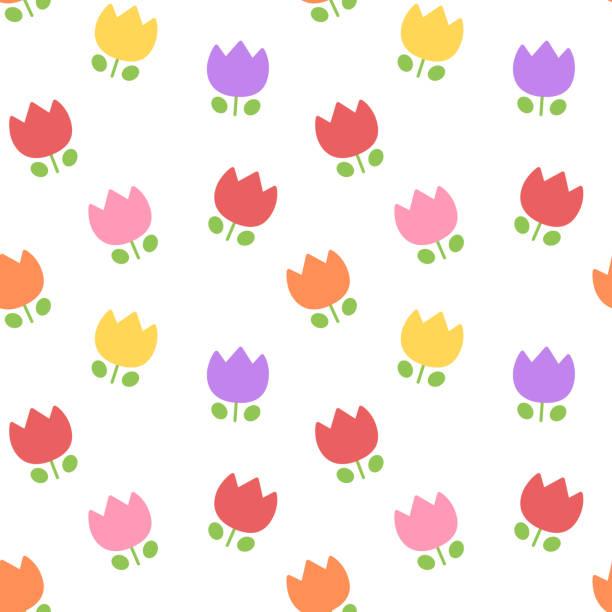 Random tulip seamless pattern vector art illustration