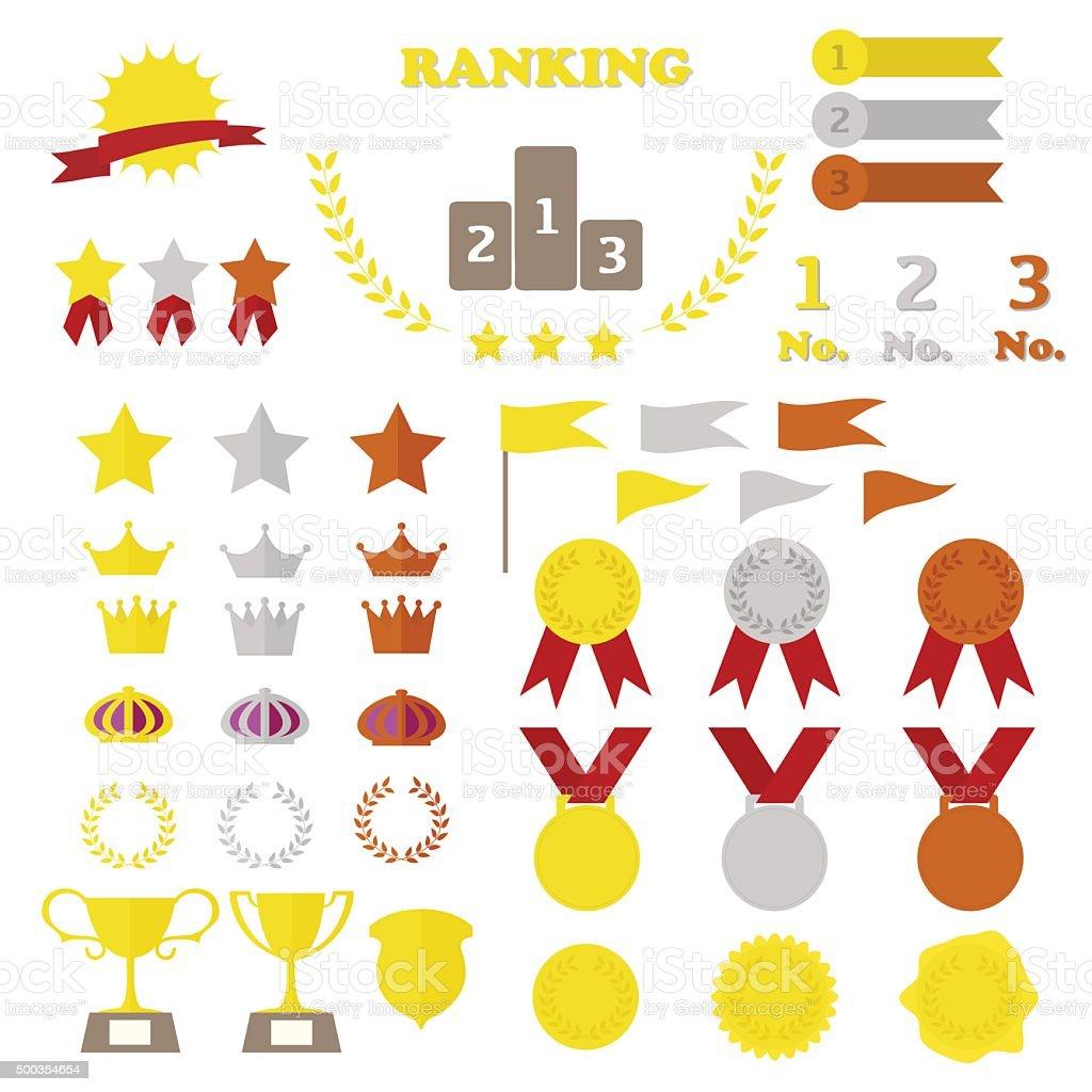 rank medal icon vector art illustration