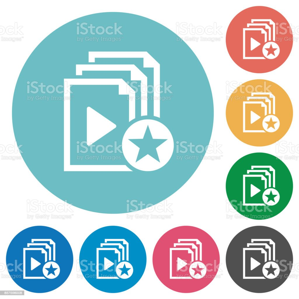 Rank playlist flat round icons vector art illustration