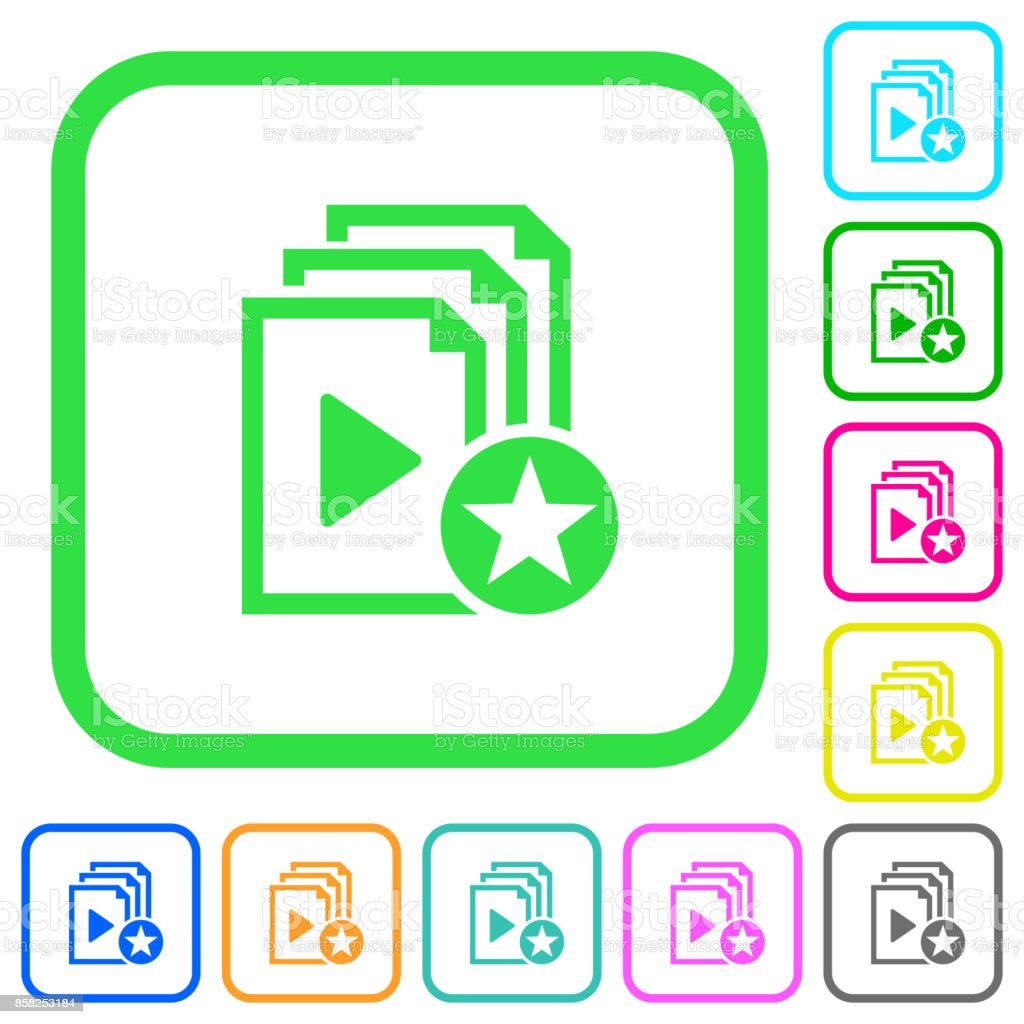 Rank playlist vivid colored flat icons icons vector art illustration