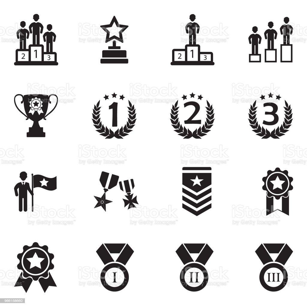 Ranking And Achievement Icons. Black Flat Design. Vector Illustration. - arte vettoriale royalty-free di A forma di stella