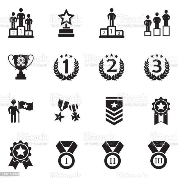 Icone Di Classifica E Realizzazione Design Piatto Nero Illustrazione Vettoriale - Immagini vettoriali stock e altre immagini di Podio del vincitore