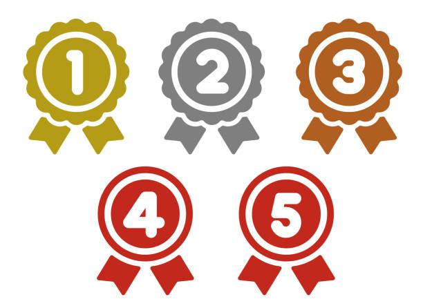 ranking medal icon illustration set. from 1st place to 5th place ranking medal icon illustration set. from 1st place to 5th place (gold/silver/bronze etc.). gezond stock illustrations