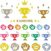 Ranking trophy, hand-drawn icons.