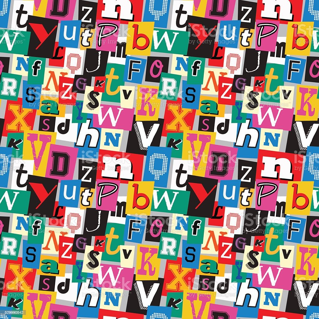 Ransom note kidnapper seamless pattern vector art illustration