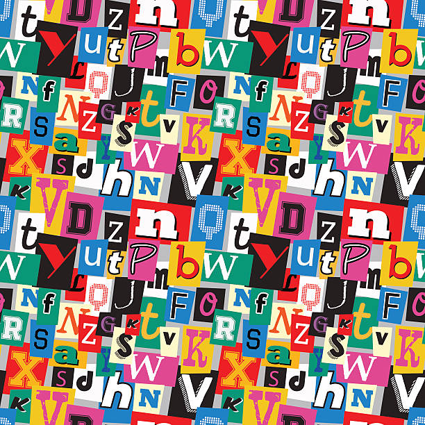 Ransom note kidnapper seamless pattern Vibrant multicoloured kidnapper ransom note seamless pattern. Fun background with letters for decoration, background and print. bribing stock illustrations