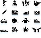 Rap and hip-hop music black & white icon set