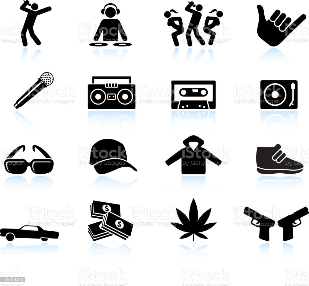 Rap and hip-hop music black & white vector icon set vector art illustration