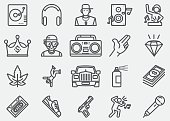 Rap And Hip-Hop Music Line Icons
