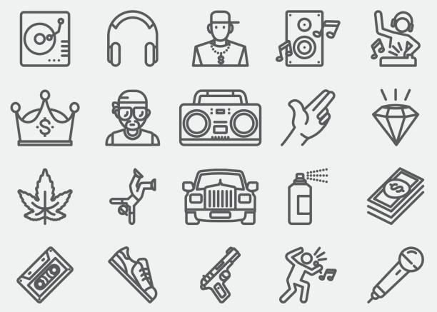 illustrations, cliparts, dessins animés et icônes de rap et hip-hop musique ligne icônes - hip hop