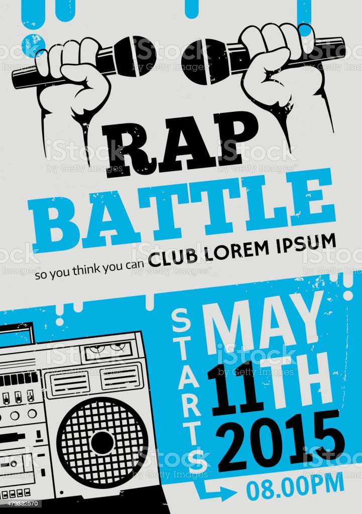 Rap battle, concert hip-hop music. Vector template design, flyer, poster vector art illustration
