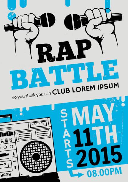 bildbanksillustrationer, clip art samt tecknat material och ikoner med rap battle, concert hip-hop music. vector template design, flyer, poster - hip hop poster