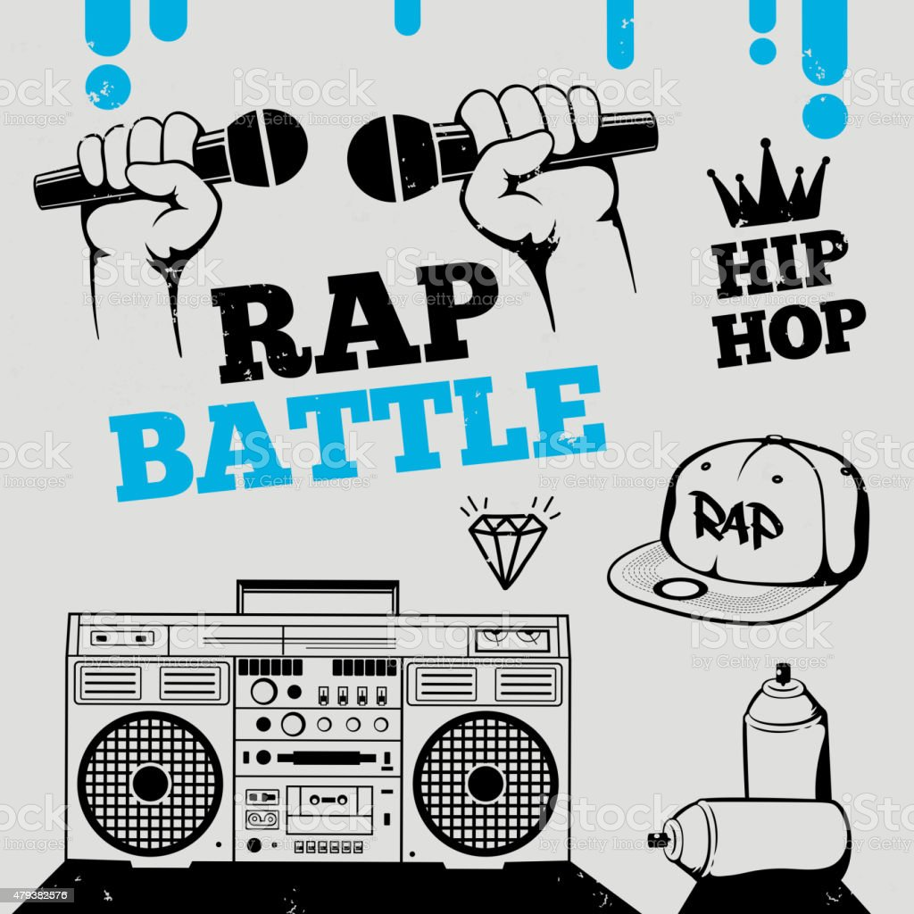 Rap battle, hip-hop, breakdance music design elements vector art illustration