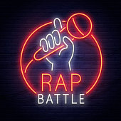 Rap Battle neon sign. Neon sign. Stand Up icon, emblem and label. Bright signboard, light banner