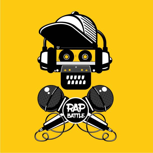 illustrations, cliparts, dessins animés et icônes de rap battle signe avec crâne et deux microphones. illustration de style rétro. groupe de hip-hop. - hip hop