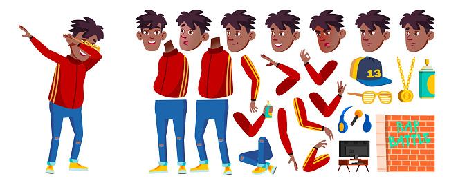Rap Battle Singer Boy Kid Vector.