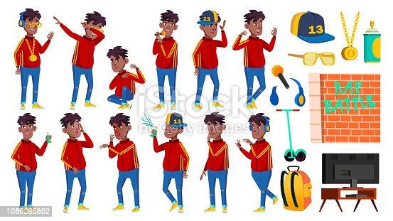 Rap Bottle Singer Boy Schoolboy Poses Set Vector. Black. Afro American. Child Pupil. Active, Joy, Leisure. For Advertisement, Greeting, Announcement Design. Cartoon Illustration