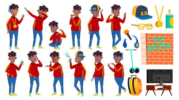 rap flasche sänger junge schüler stellt set vector. schwarz. afro-amerikaner. kind-schüler. aktiv, freude, freizeit. für werbung, gruß, ankündigung design. isolierte cartoon illustration - kindersprüche stock-grafiken, -clipart, -cartoons und -symbole