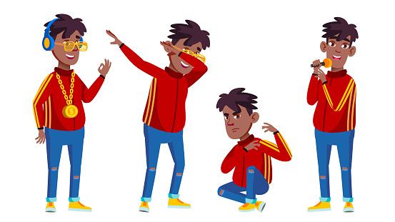 Rap Bottle Singer Boy Schoolboy Set Vector. Black. Afro American. Young, Cute, Comic. For Presentation, Print, Invitation Design. Isolated Cartoon Illustration