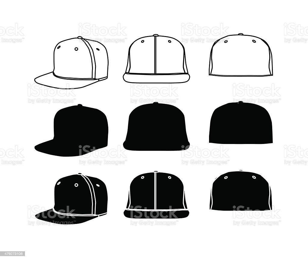 Rap cap silhoette set vector art illustration