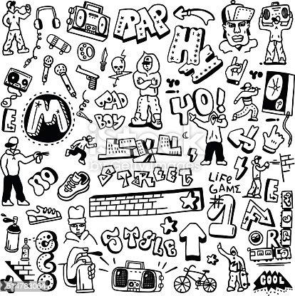 rap, hip hop , graffiti - set icons in sketch style, design elements