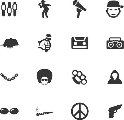 Rap hip hop music icons set