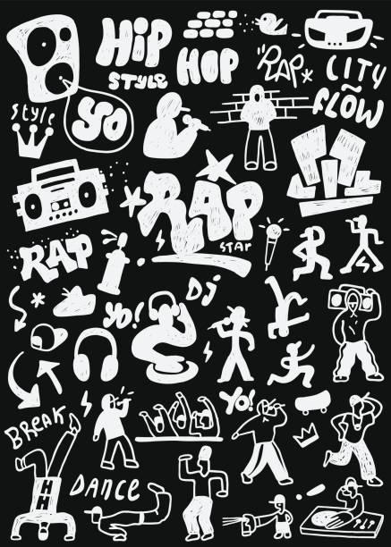 bildbanksillustrationer, clip art samt tecknat material och ikoner med rap ikonuppsättning - street dance
