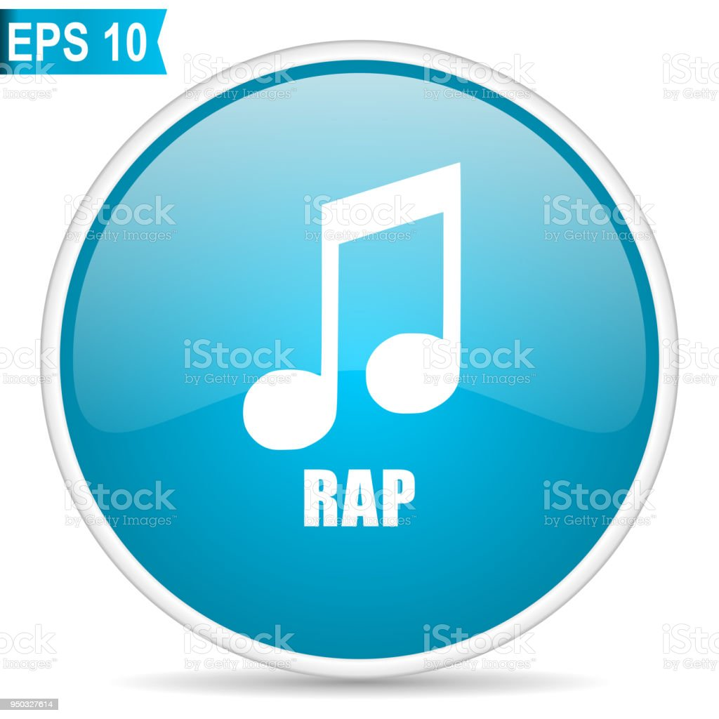 Rap Music Blue Glossy Round Vector Icon In Eps 10 Editable Modern