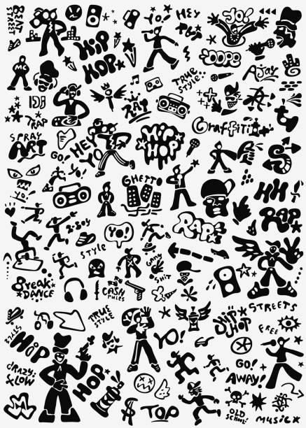 bildbanksillustrationer, clip art samt tecknat material och ikoner med rap musik, hip hop kultur doodle set - street dance