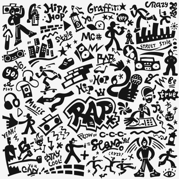 bildbanksillustrationer, clip art samt tecknat material och ikoner med rapmusik, hip hop kultur ikonuppsättning - street dance
