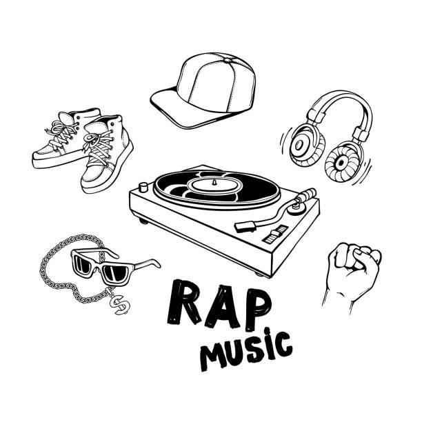 bildbanksillustrationer, clip art samt tecknat material och ikoner med rap musik set med vinyl skivspelare och olika rappare stil kläder och accessoarer. - street dance