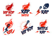 Rap music vector emblems set with microphone in hand flames and lightning bolt, hot Hip Hop rhymes festival concert or night club party labels, t-shirt prints.