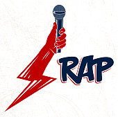 Rap music vector logo or emblem with microphone in hand in a shape of lightning bolt, Hip Hop rhymes festival concert or night club party label, t-shirt print.