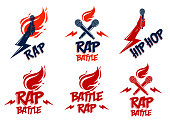 Rap music vector s or emblems set with microphone in hand flames and lightning bolt, hot Hip Hop rhymes festival concert or night club party labels, t-shirt prints.