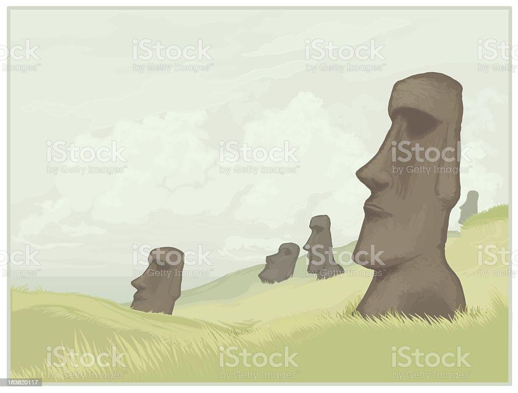 Rapa Nui- Easter Island vector art illustration