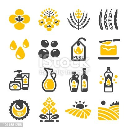 rapeseed and canola oil icon set