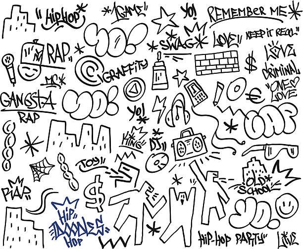rap,hip hop - doodles rap,hip hop - set icons in sketch style vandalism stock illustrations