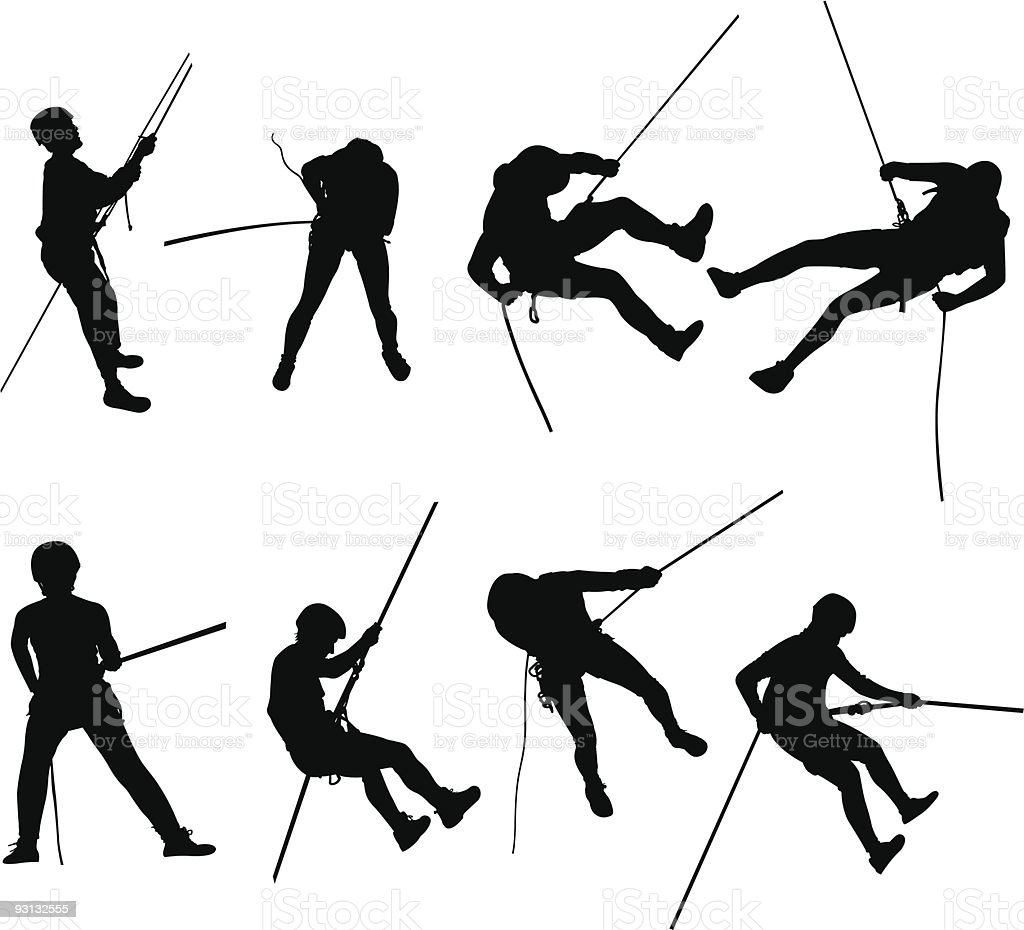 Rappelling silhouettes vector art illustration