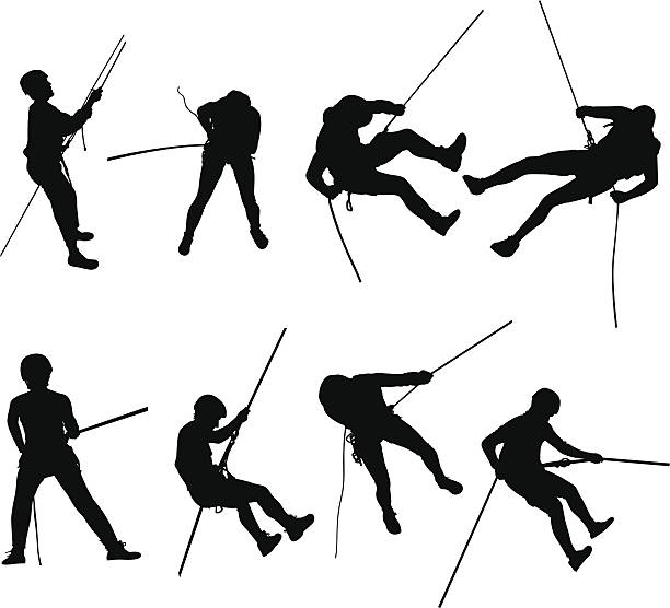rappelling silhouettes - rock climbing stock illustrations, clip art, cartoons, & icons