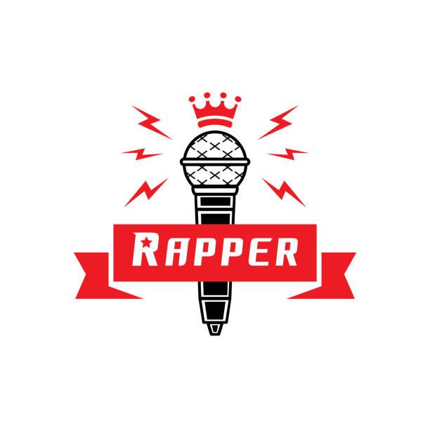 illustrations, cliparts, dessins animés et icônes de insigne de rappeur avec couronne sur microphone - hip hop