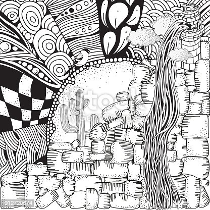 Rapunzel Hair High Stone Tower Coloring Book Page For Adult And Children Cartoon Vector Illustration Doodle Style Black White Stock Art More
