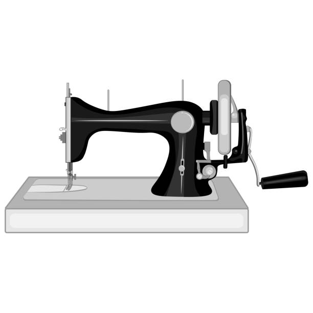 Bекторная иллюстрация Rare sewing machine with manual drive - vector illustration. They're going against a white background