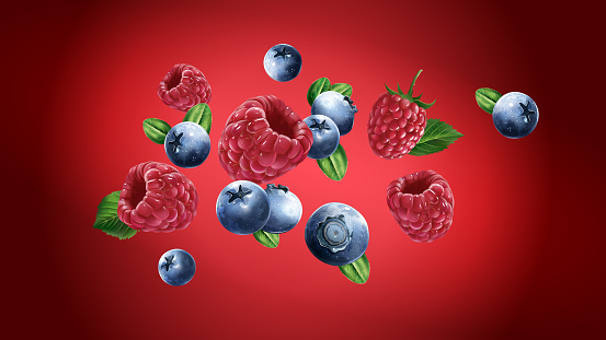Raspberries and blueberries are flying on a red background.