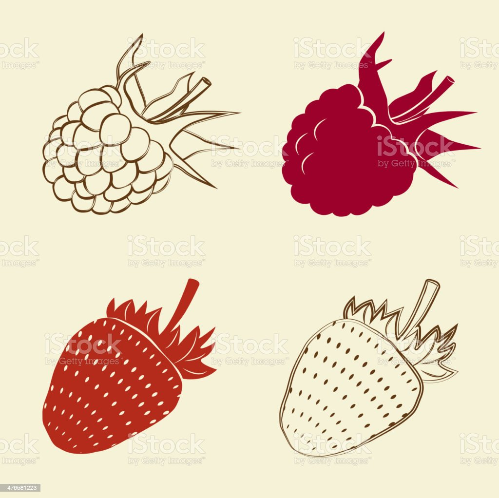 raspberry and strawberry icons royalty-free raspberry and strawberry icons stock vector art & more images of abstract