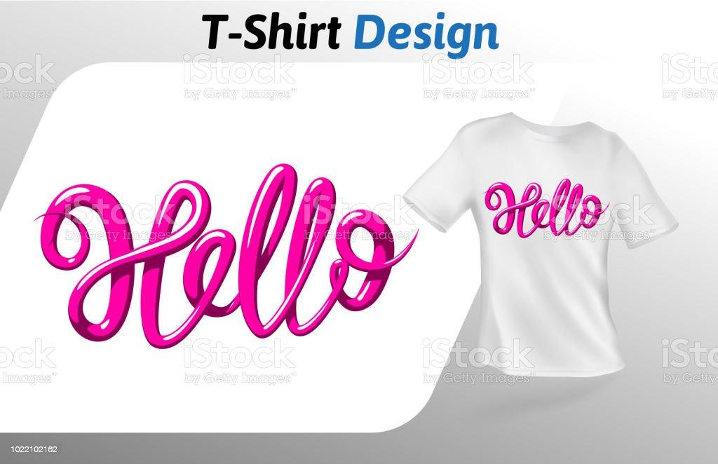 Raspberry Color Word Hello T Shirt Print Mock Up Design