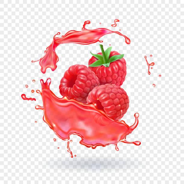 bildbanksillustrationer, clip art samt tecknat material och ikoner med hallonsaft färsk frukt plaska vektorillustration - hallon
