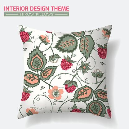 Raspberry Pattern Throw Pillow design template