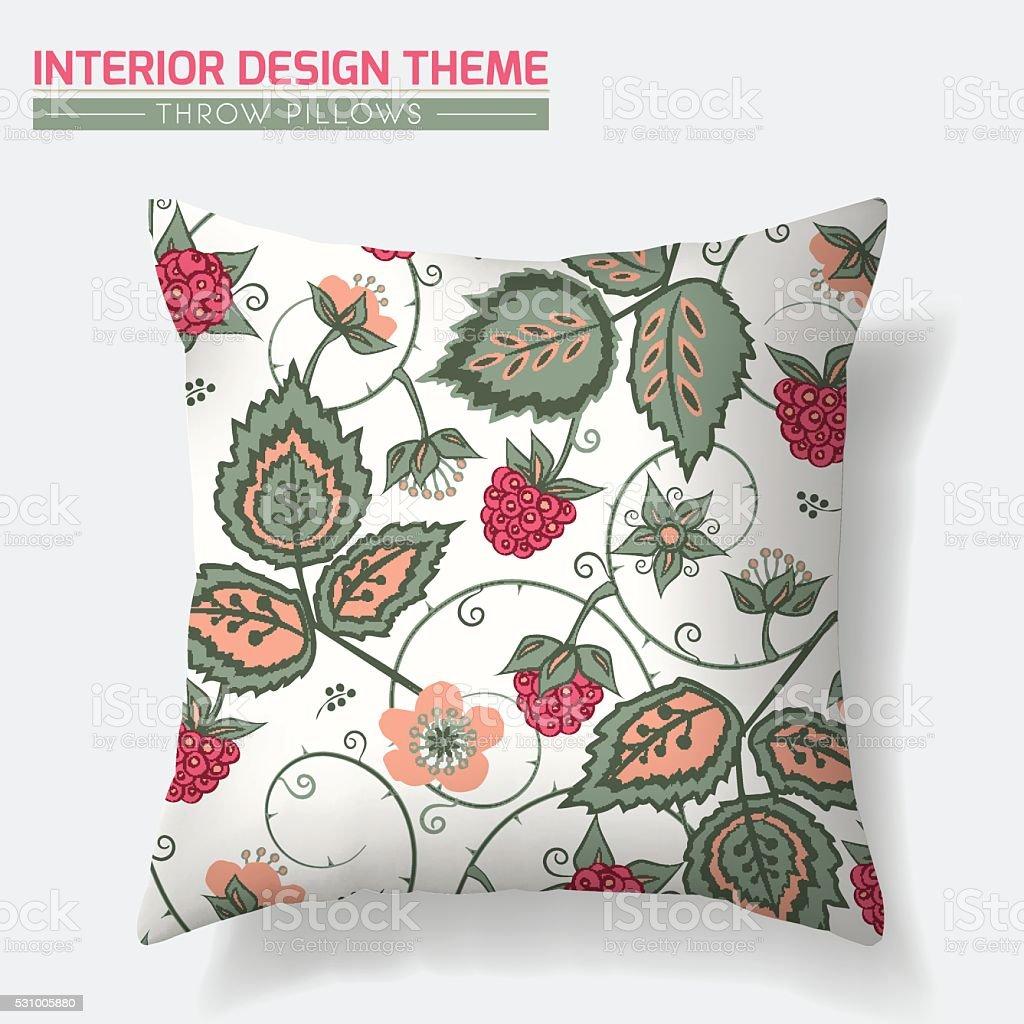 Raspberry Pattern Throw Pillow design template vector art illustration