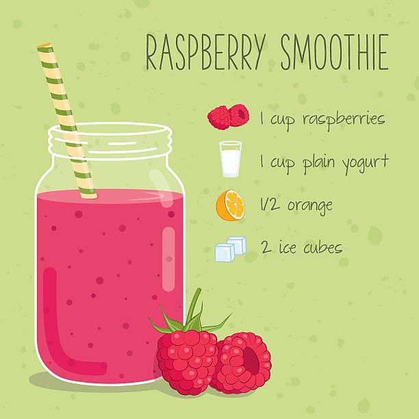 bildbanksillustrationer, clip art samt tecknat material och ikoner med raspberry smoothie recipe - smoothie