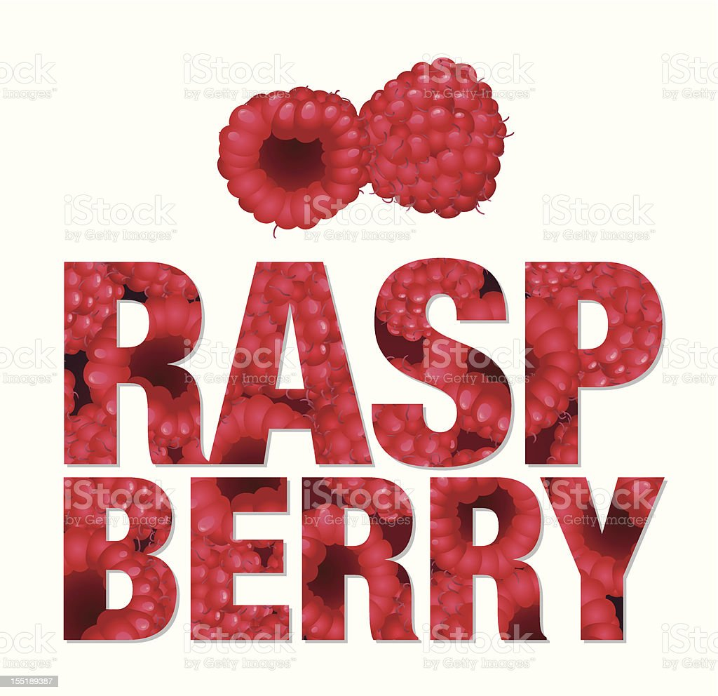Raspberry text made from berries royalty-free stock vector art
